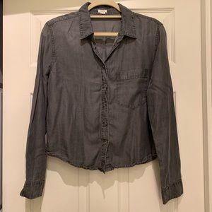 Garage gray chambray button up top